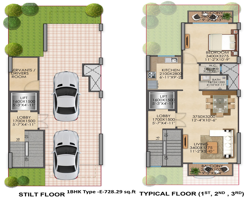 1bhk Type E 728 sq ft Signature Global Floor Plan