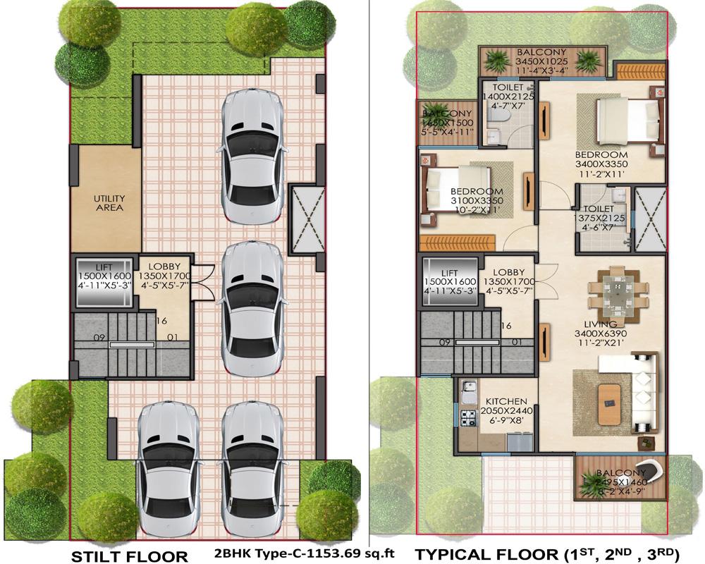 2BHK Type C 1153 Signature Global Floor Plan