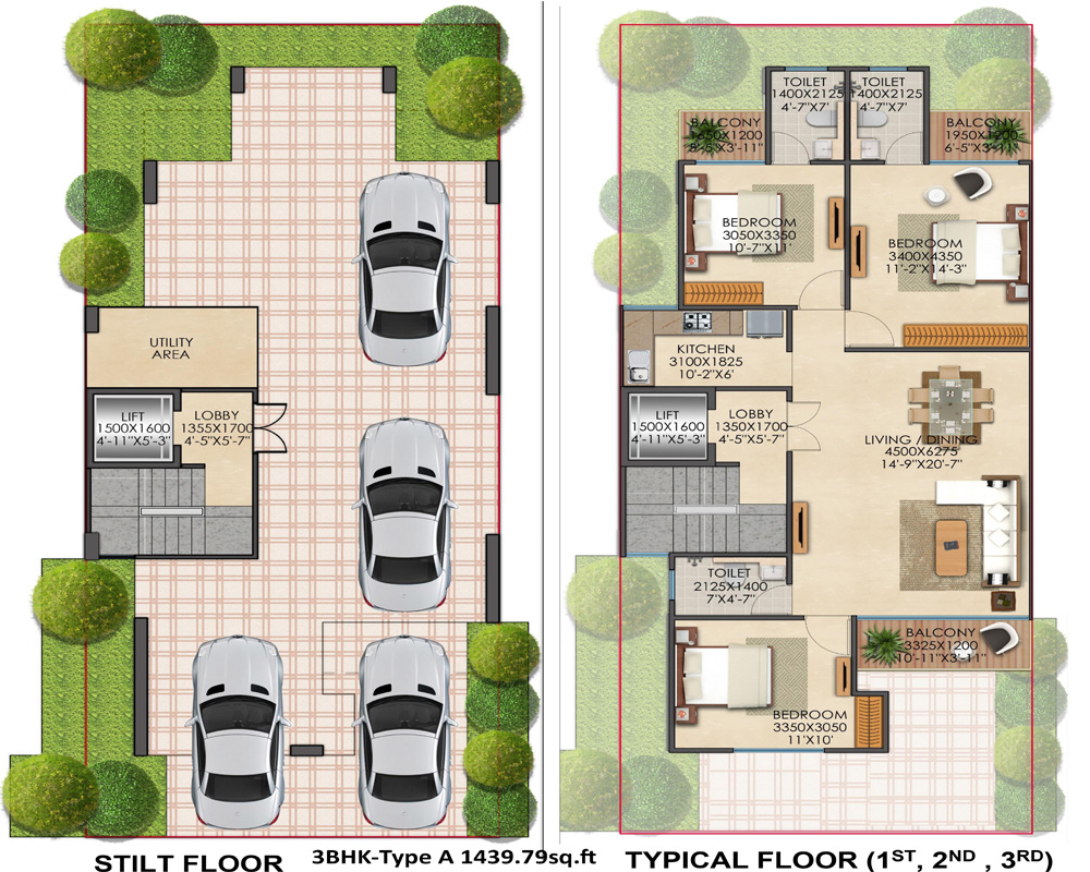 3BHkType A1439.79 Signature Global Floor Plan