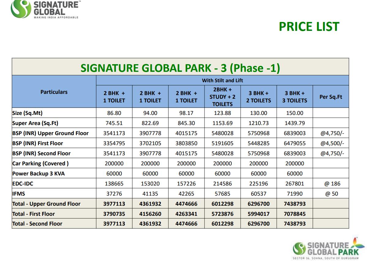 Signature Park Price List Phase 3